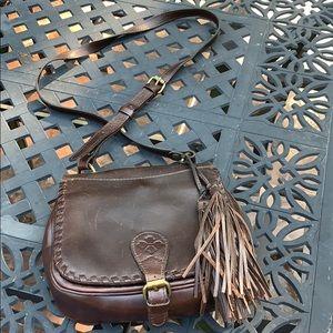 Patricia Nash Dark Brown Leather Saddle Crossbody